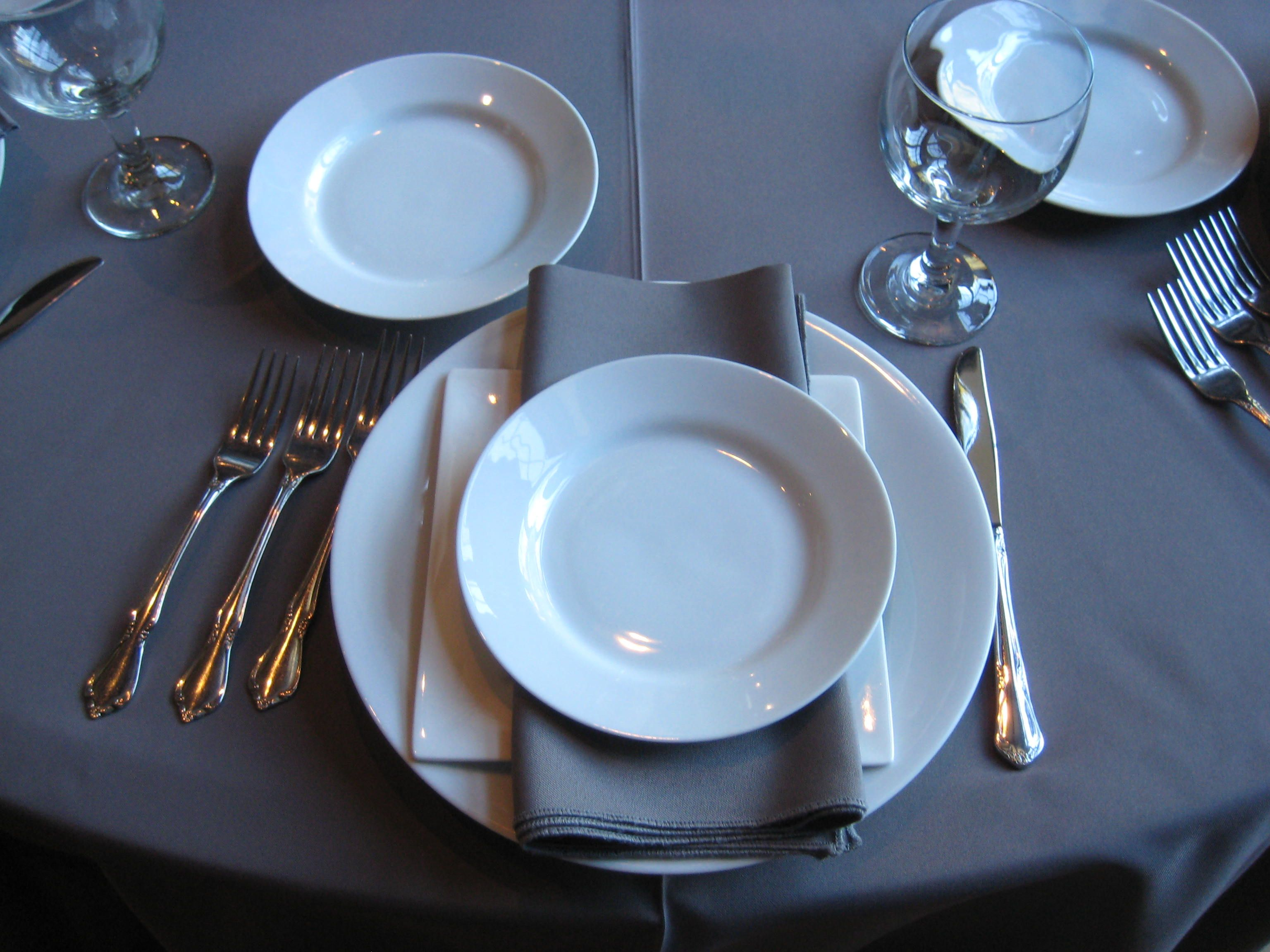 Family Style Place Setting For Three Course Meal Pasta Salad Main