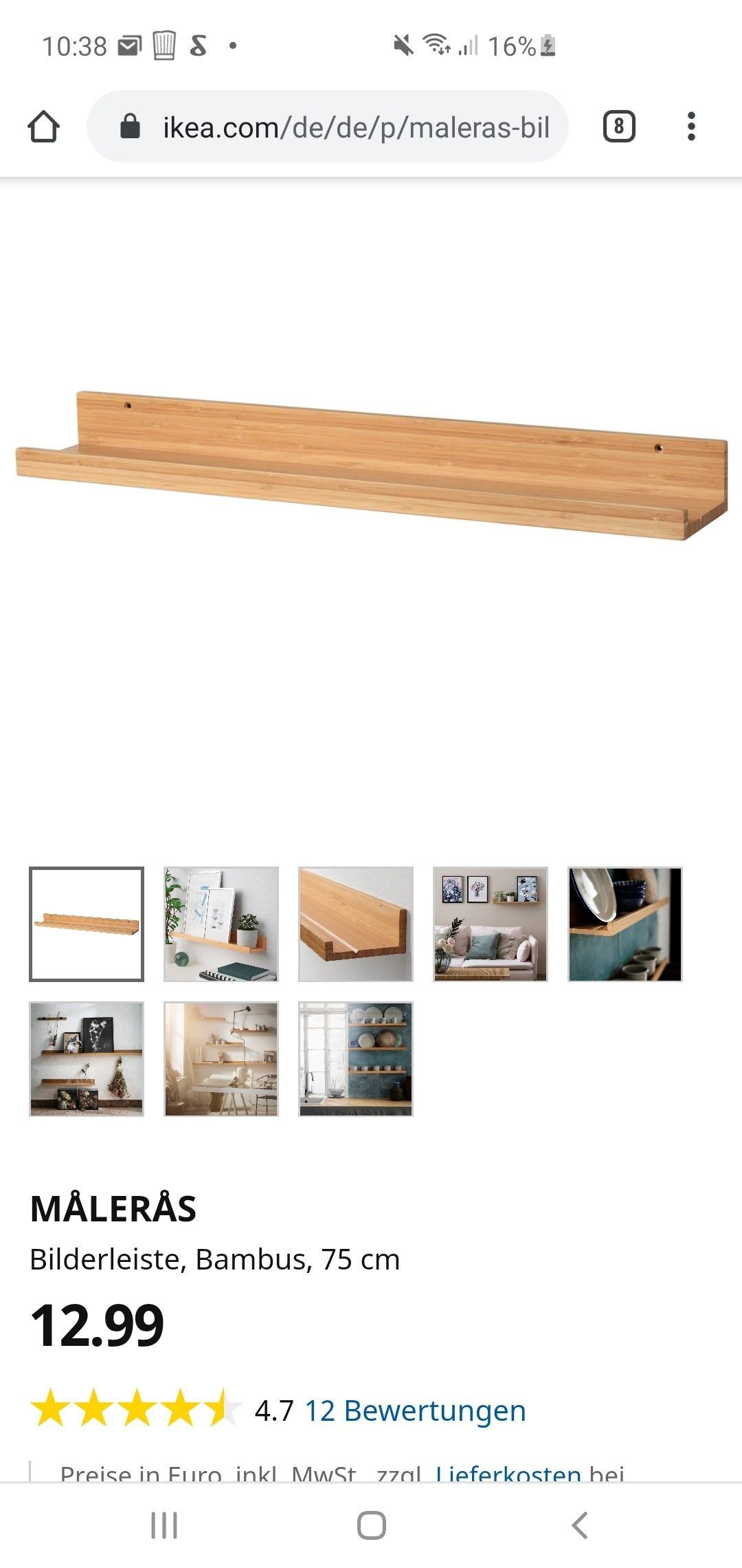 MÅLERÅS Bilderleiste Bambus IKEA Österreich