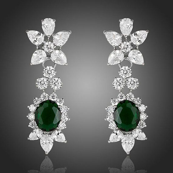 87465ddab Dangling Clear and Dark Green Cubic Zirconia by CrystalJewells. Dangling  Clear and Dark Green Cubic Zirconia by CrystalJewells Prom Jewelry ...