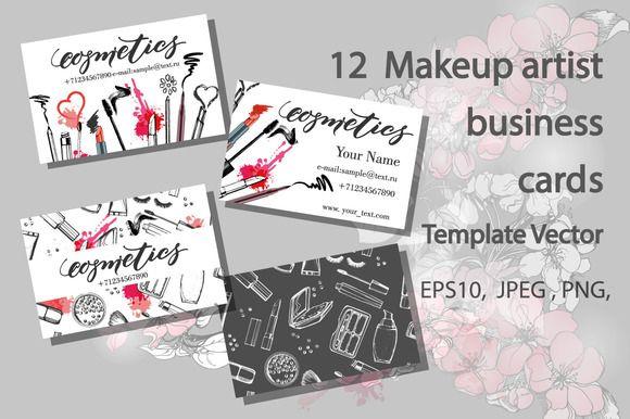 Set Of Makeup Artist Business Card Makeup Artist Business Cards Templates Makeup Artist Business Cards Artist Business Cards