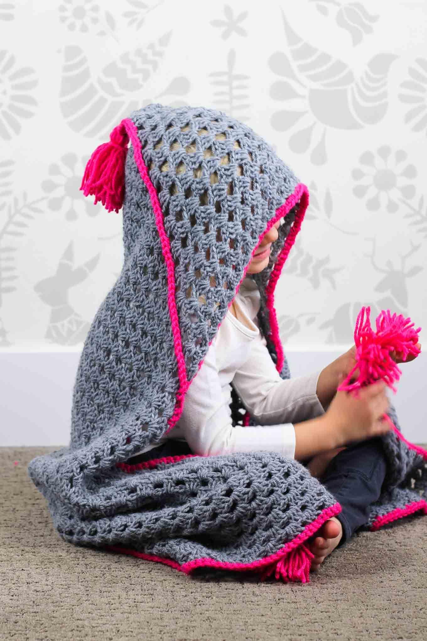 Modern Crochet Basketweave Afghan Free Pattern Hooded Blanket