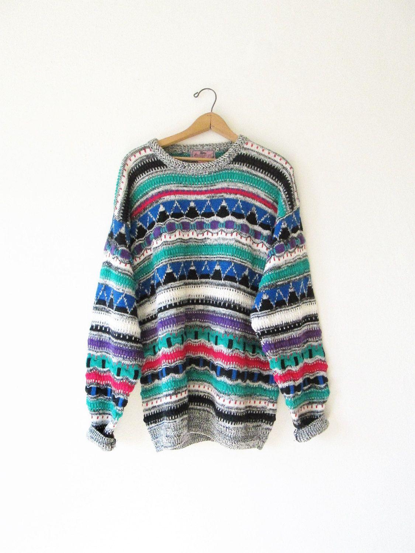 Vintage Coogi Style Black White Grey Sweater // 90's // Vintage Cosby Style Sweater // 90's Coogi Style Sweater // Vintage Coogi // Large 7fuxBrFlIk