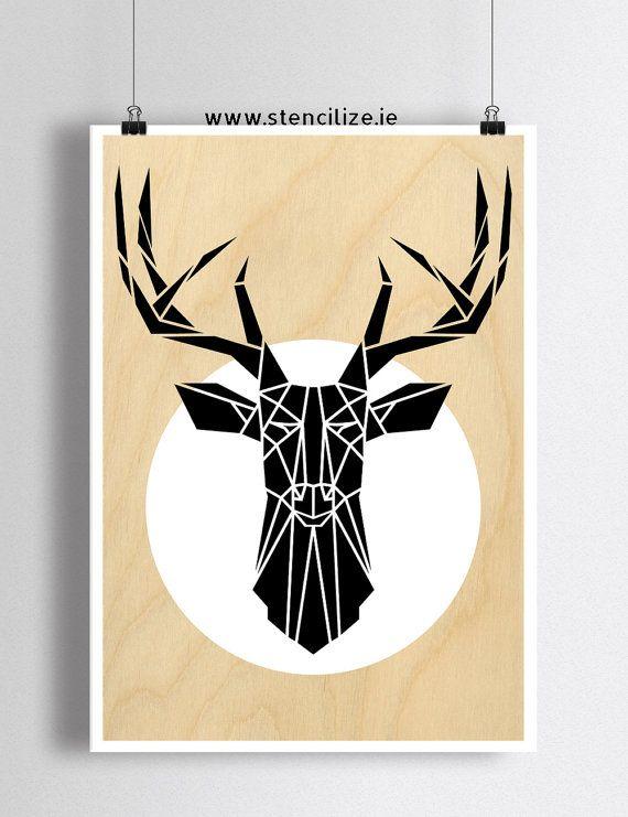 Mimimal Deer Art Print Geometric Stag Head Wall Art by Stencilize ...