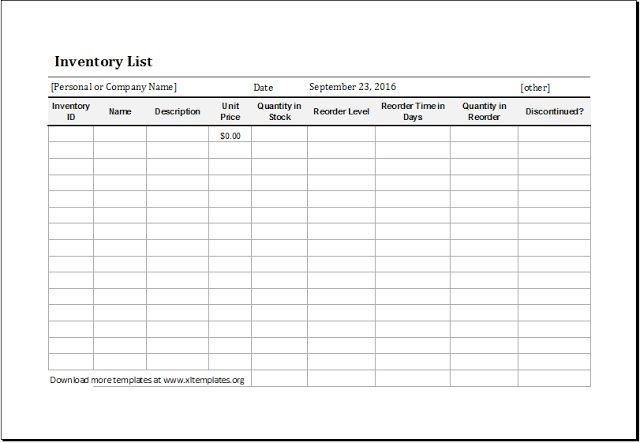 Food storage inventory sheet item: Restaurant Inventory Spreadsheet Template Free Excel Templates Spreadsheet Template List Template