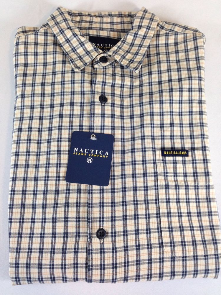 31b4ccd7c732 Men s XL Nautica Dress Shirt Short Sleeve NWT Yellow Blue White  Nautica