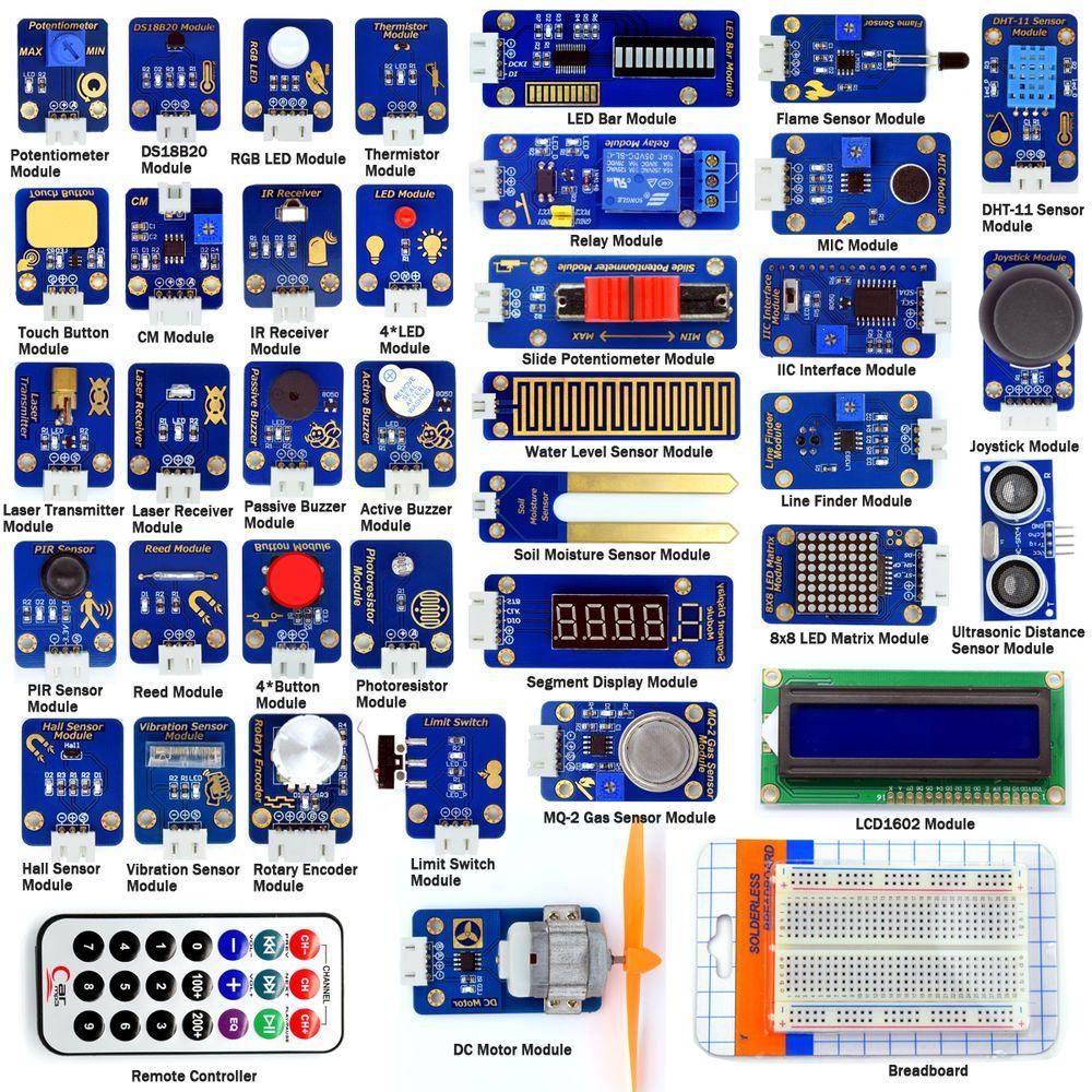 Adeept New 42 Modules Ultimate Sensor Starter Kit For Arduino Uno R3 Stripboard Veroboard Matrix Board Design Software Electrical Processing