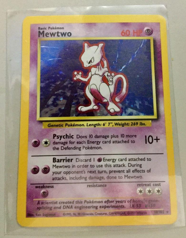 Mewtwo 10//102 Base Set Holo Pokemon Card LP
