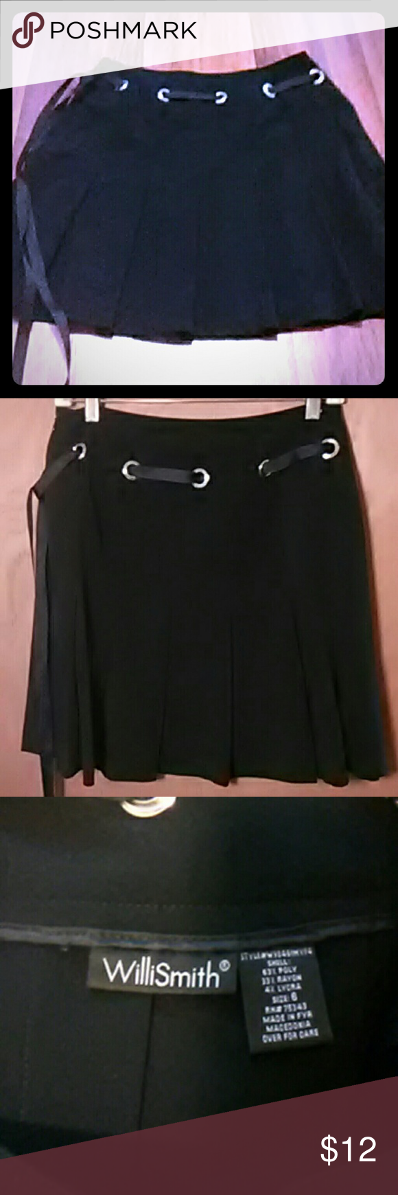 "Pleated black skirt/Willi Smith Cute pleated skirt with ribbon woven through. You can tie it however you like. The loops are silver. I am 5'7"" and skirt falls right above my knee. Great with boots. Worn a handful of times. Looks like new. Willi Smith Skirts Midi"