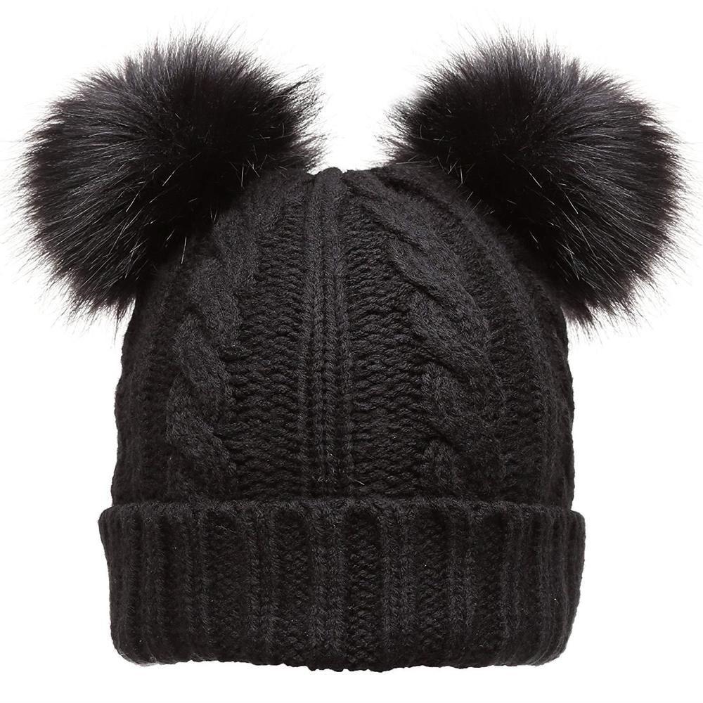 f089e9d86e7e3 Black Fur Beanie Faux Pom Soft Womens Knitted Winter Hat Warm One Size Cold  Gear #