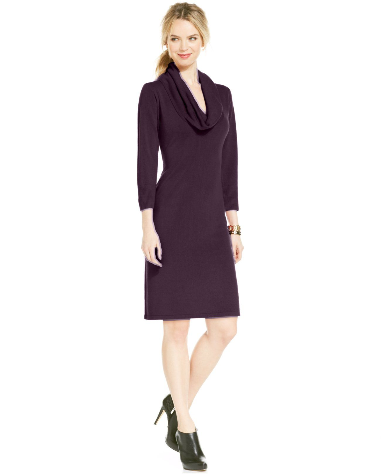 7274262eefd5 Connected Petite Cowl-Neck Sweater Dress - Petite Sale & Clearance - Women  - Macy's
