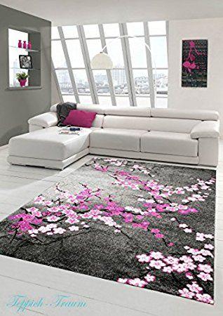 Designer Moderner Wohnzimmer Teppich Blumenmuster Grau Lila Pink Weiss Rosa  Größe