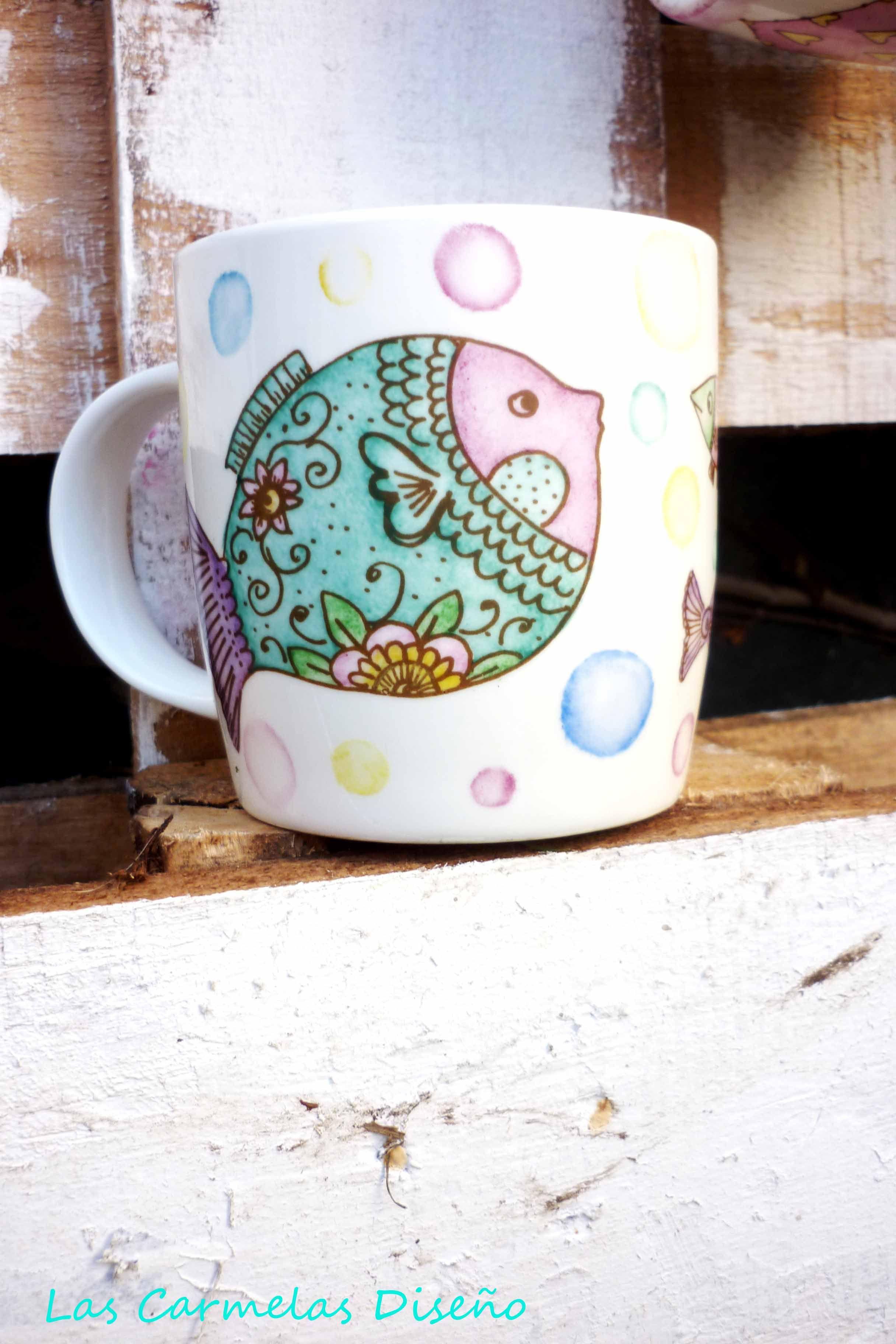 Taza de porcelana pintada a mano porcelana 2 pinterest - Tazas decoradas a mano ...