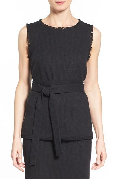 Halogen® Belted Sleeveless Cotton & Linen Top (Regular & Petite) available at #Nordstrom
