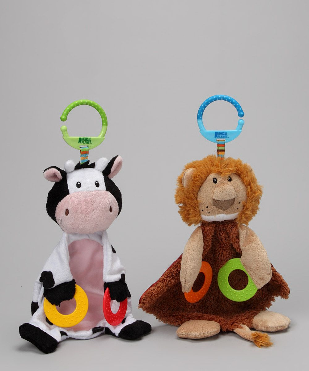 Animal Planet Black & Brown Cow & Lion Teether Blanket Set