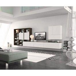 Hängende Wohnwand Weiß Modern Design Holz Eiche Wohnzimmer Anbauwand