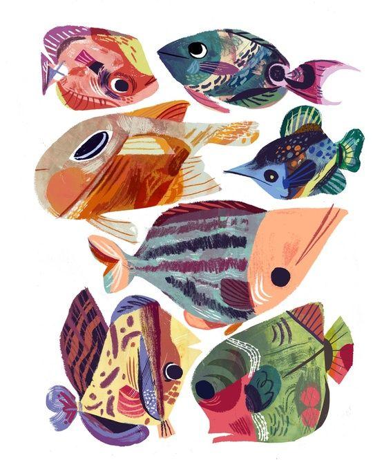 Fish Fantasy 3, an art print by Meg Hunt   Fish illustration