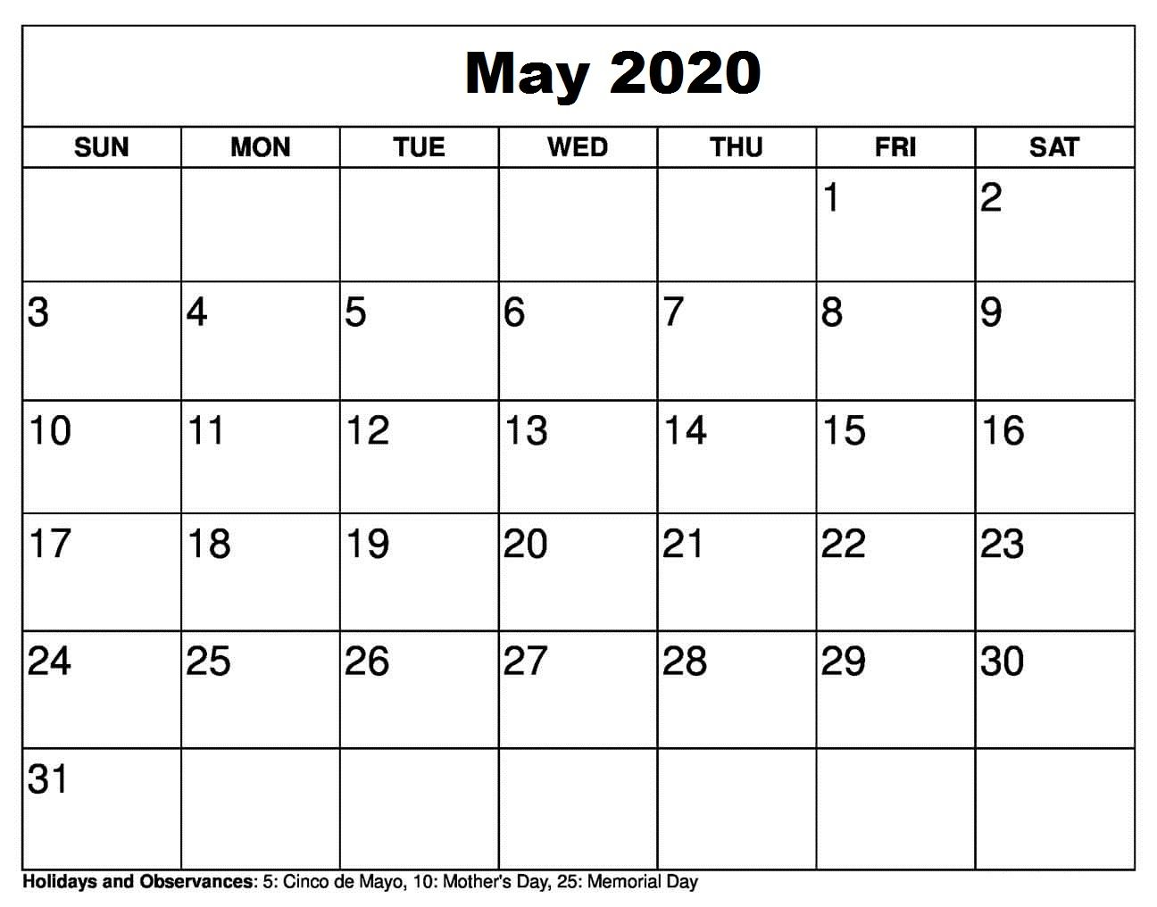 You Can Add Your Upcoming Holidays In May 2020 Calendar Templates