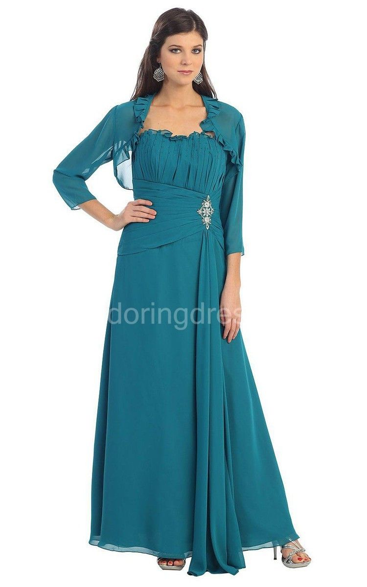 Strapless Chiffon Draped Dress With Matching Jacket | Groom dress ...