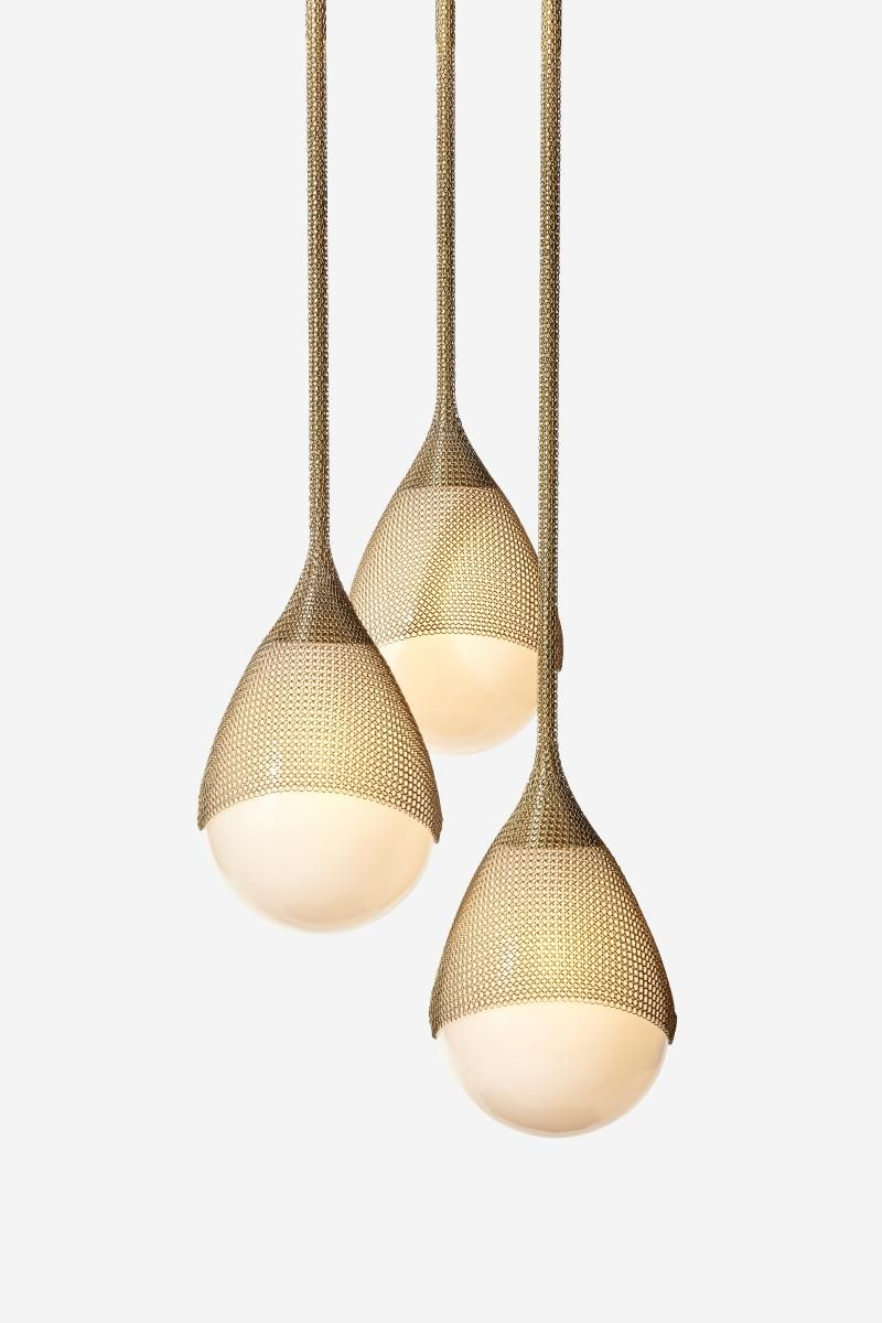 Konekt Armor Pendant Light in Satin Brass with Hand Blown