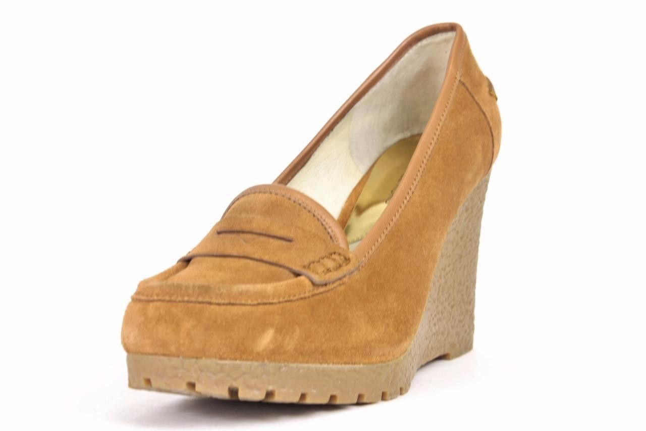 fdc001c5e83d Michael Kors Rory Walnut Suede Wedge Loafers