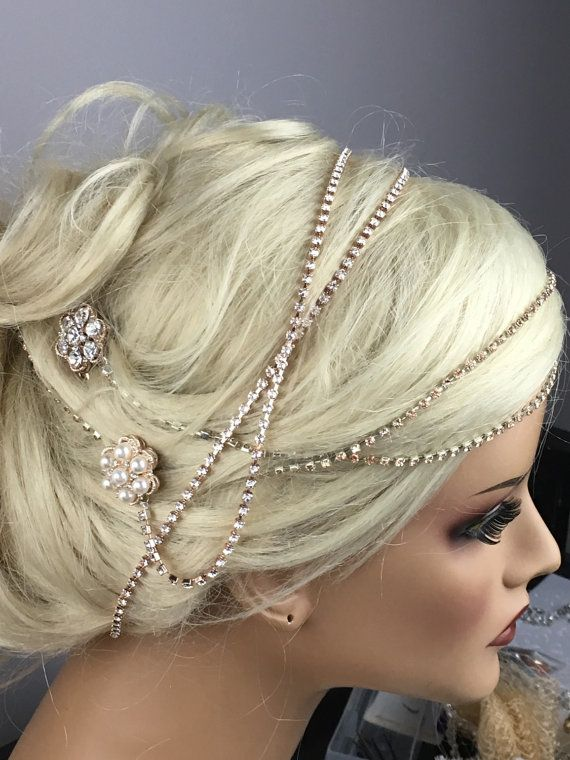Champagne Rose Gold Rhinestone Headband by EleganceAtHand on Etsy ... dd210bf6421