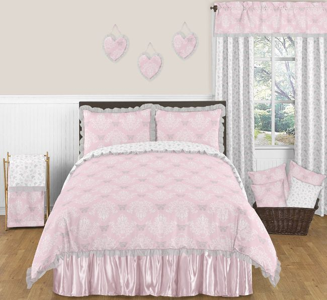 Alexa Pink and Gray Butterfly Bedding Set Full / Queen 3pc