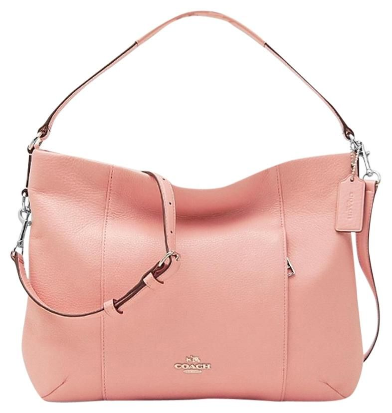 ec937a990710 Coach Isabelle Pebble Leather Ew F 35809 Satchel Hobo Handbag Rose Pink    Silver
