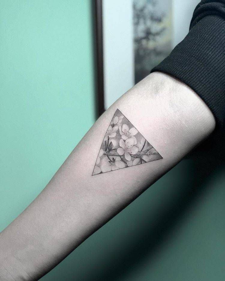 Cherry Blossom Triangle Tattoo On The Right Inner Forearm Tattoos