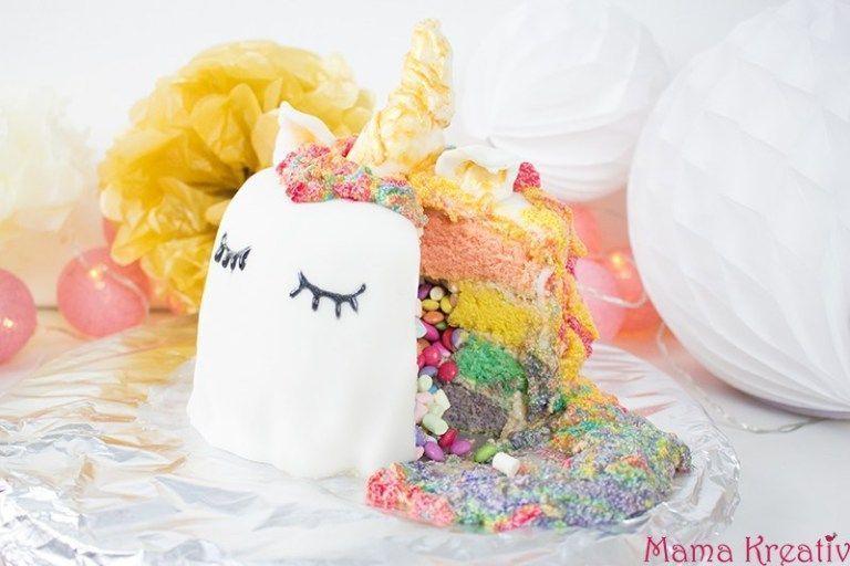 Photo of Einhorn-Regenbogen-Piñata-Kuchen selber machen — Mama Kreativ – Einhorn-Reg…