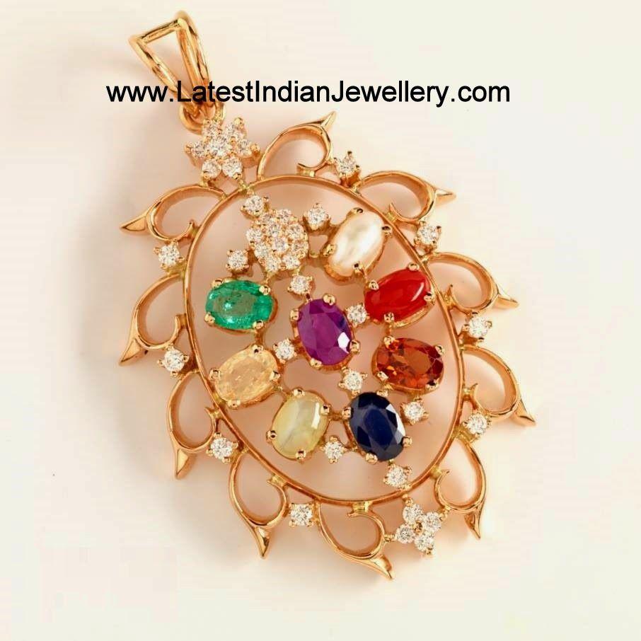 Latest navaratna pendants with diamonds pendants diamond and