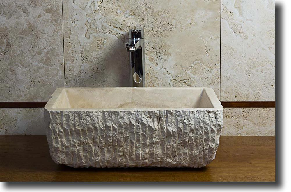 Pietre di rapolano lavabo mod pilozzo travertino chiaro scalpellato dim 48 x 40 h 16 http - Lavabo pietra bagno ...