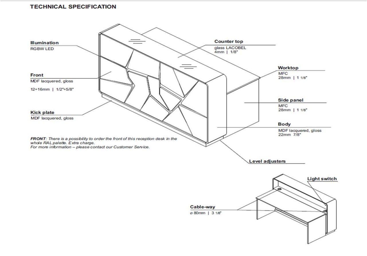 Reception counter detail drawings