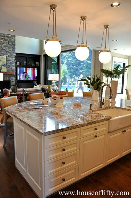 Large Kitchen Island Isabella & Max Rooms: Street of Dreams Portland Style  - House Like the sink in the island idea