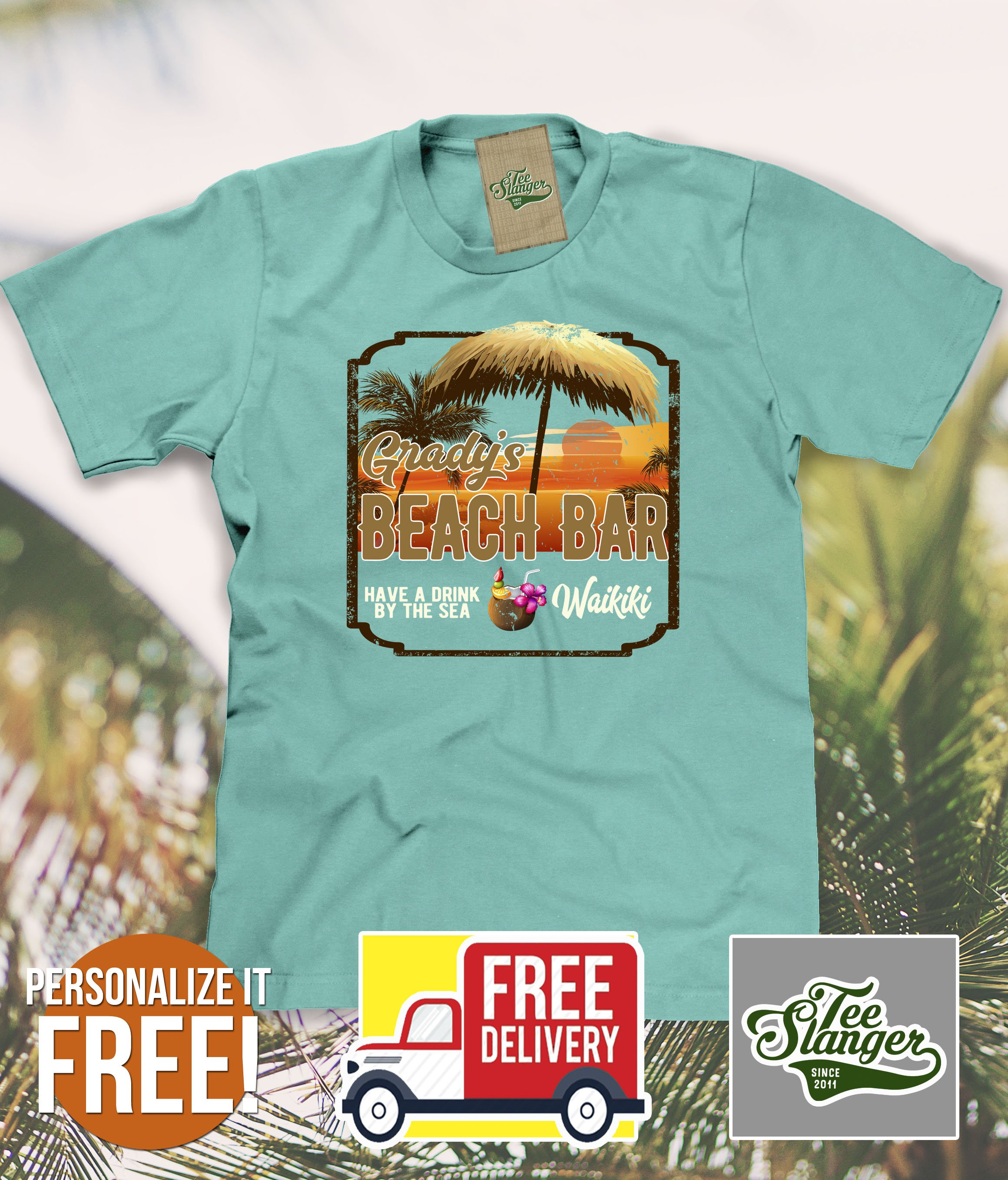 b6ae8c7f0 Customized Beach Bar T-shirt – Teeslanger Free personalization. Free  shipping. #hawaii #beach #oahu #waikiki #maui #kauai