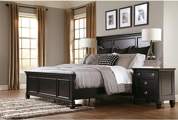 Greensburg black panel bed frame and night stand View 1 J Room