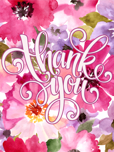 Elegant Pink Flower Thank You Card Birthday Greeting Cards By Davia Thank You Images Thank You Wishes Thank You Greetings