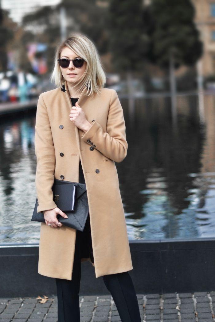 Manteau long femme couleur camel