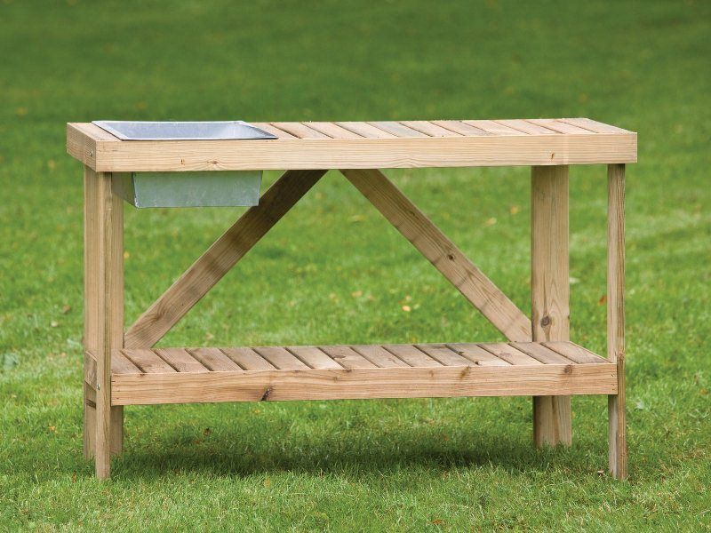 Sink Potting Table Wooden Garden Greenhouse