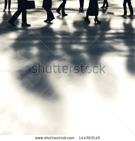 Illustration of people and their shadows walking along a street by Robert Adrian Hillman, via ShutterStock
