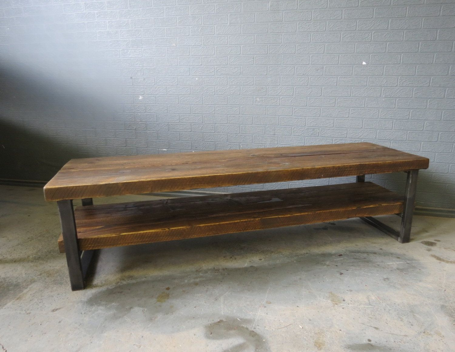 Industrial Chic Style Reclaimed Custom Coffee Table Tv Unit This  # Table Tv Plasma En Bois Angle