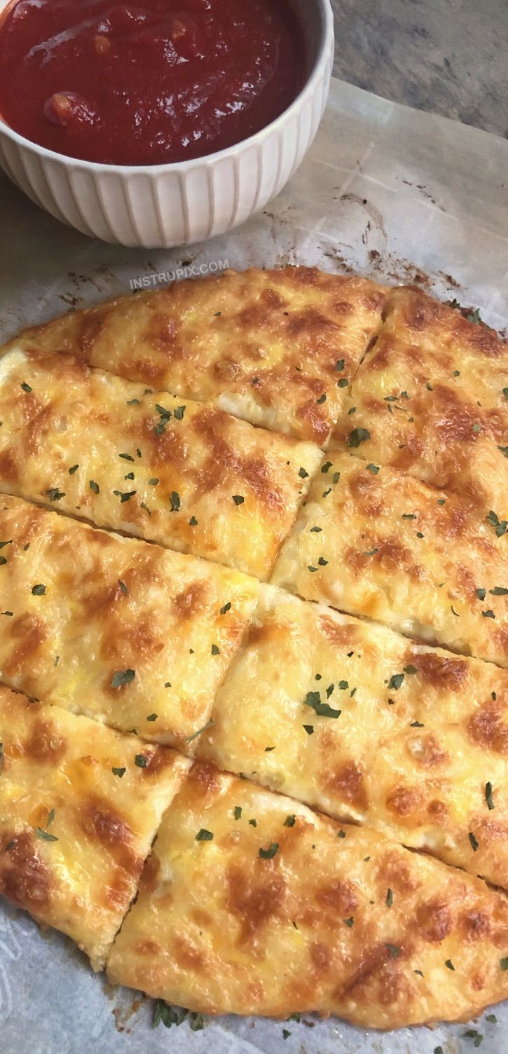 Easy KETO Cheesy Garlic Breadsticks Recipe - Just 4 simple ingredients! Looking for low carb snacks