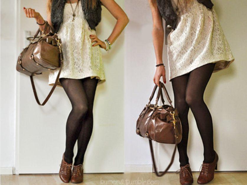 1f4c323e4 Precioso vestido beige con medias negras y bolso cafe | Ideas de ...