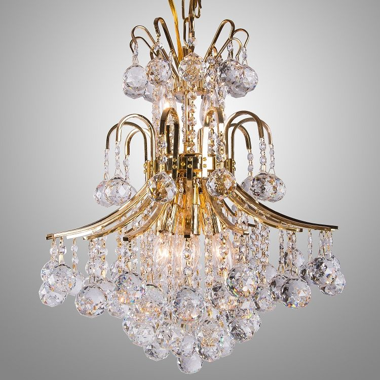 Contour Design Gold Or Chrome Chandelier With European Swarovski Spectra Crystal Strands Sku 12010