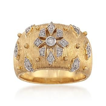Ross-Simons - .15 ct. t.w. Diamond Etruscan-Style Ring in 18kt Yellow Gold Over Sterling - #798646