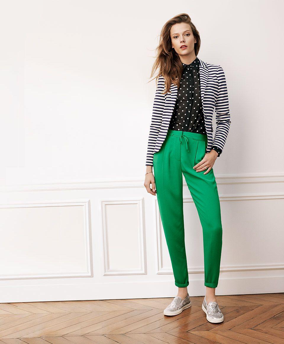 4b0ecf6845c970 Pantalon vert Caroll   Style en 2019   Veste rayée, Pantalon vert et ...