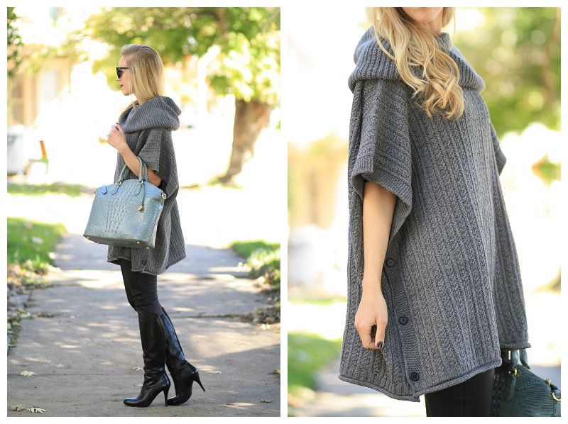 Cozy Mode: Ralph Lauren gray cowlneck poncho sweater, 7 for all ...