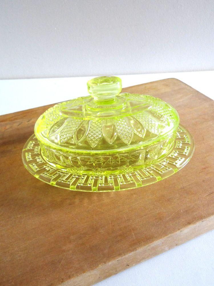beurrier ancien en verre press moul couleur jaune vert verrerie de reims vaisselle. Black Bedroom Furniture Sets. Home Design Ideas