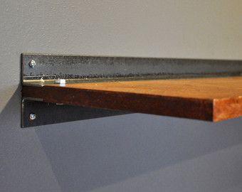 floating shelf slim floating wood shelf with steel bracket custom size and finishes available