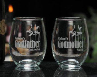 godparent gift godmother wine glass godfather wine glass