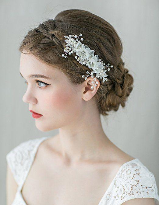 SWEETV Romantic Floral Hair Comb Clip Rhinestone Pearl Hairpins - Handmade Women Hair Accessories
